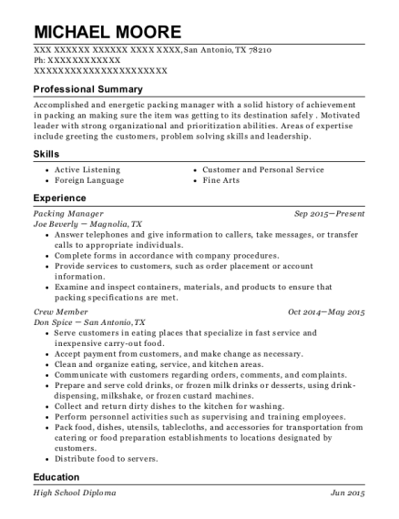 Packing Manager resume format Texas