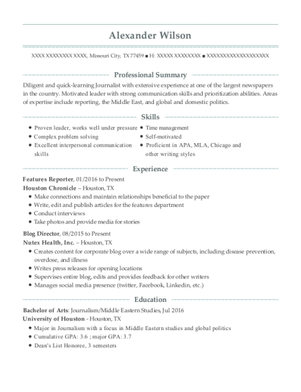 Features Reporter resume example Texas