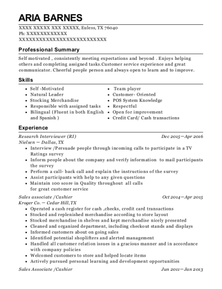 Research Interviewer resume format Texas