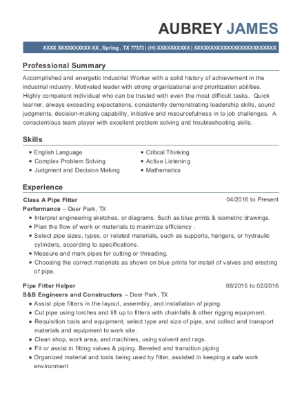 Class A Pipe Fitter resume example Texas