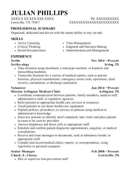 Scribe resume sample Texas