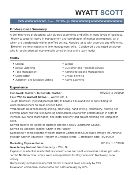 Handwork Teacher resume template Texas