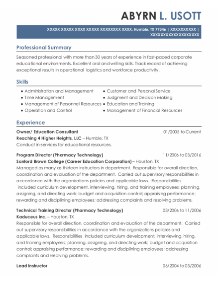 Program Director resume example Texas