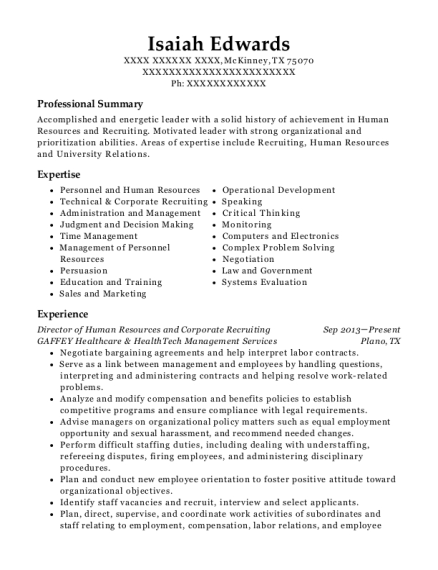Director of Human Resources and Corporate Recruiting resume format Texas