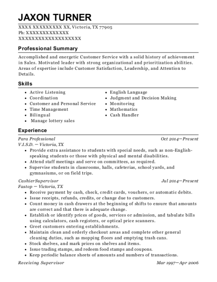 Para Professional resume template Texas