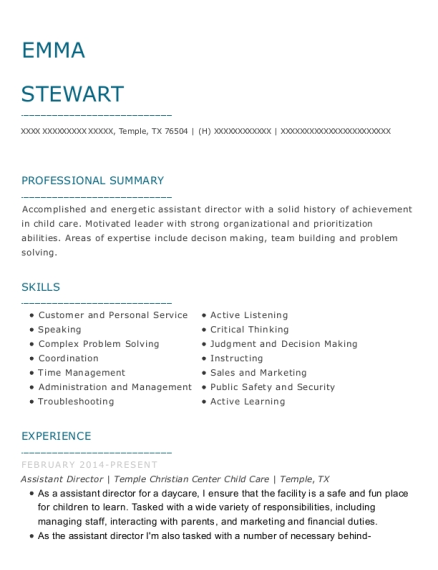 Assistant Director resume example Texas