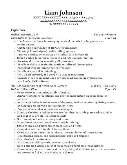 Medical Records Clerk resume template Texas