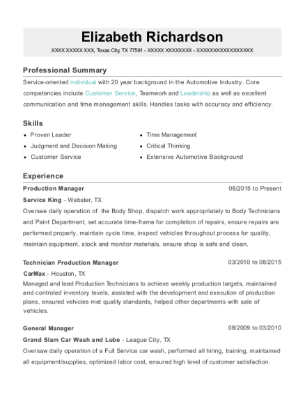 Production Manager resume format Texas