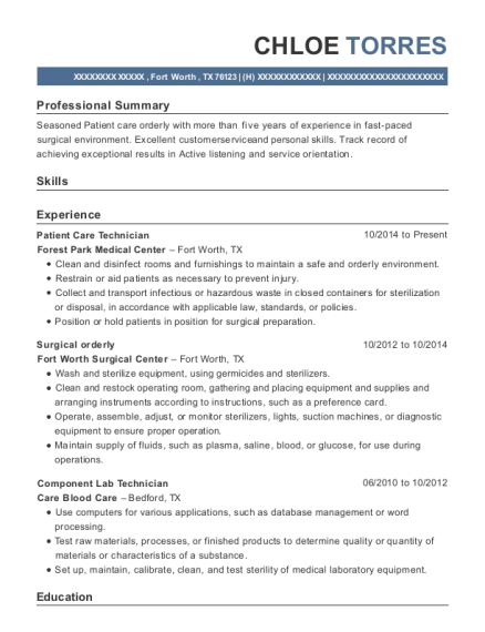 Patient Care Technician resume sample Texas
