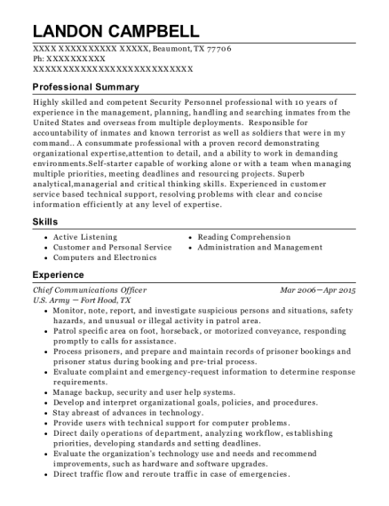Chief Communications Officer resume sample Texas