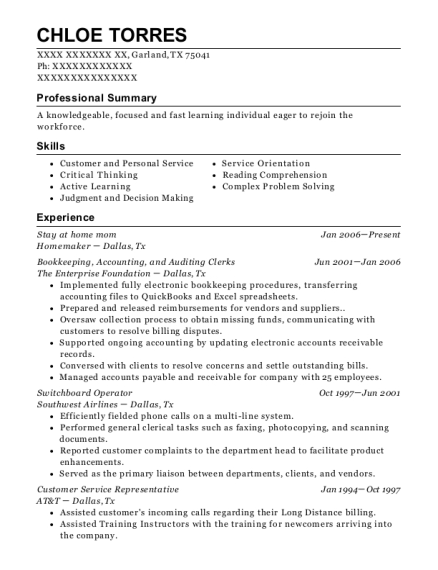 Stay at home mom resume template Texas