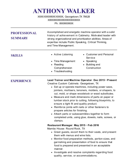 Lead Trainer and Machine Operator resume format Texas