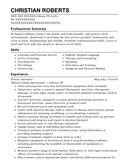 Fitness instructor resume example Texas