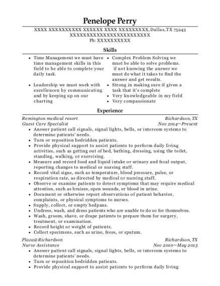 Guest Care Specialist resume example Texas