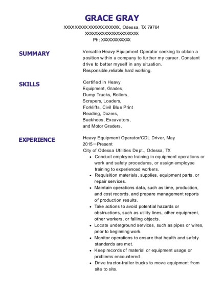 Heavy Equipment Operator resume template Texas