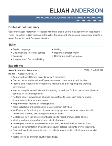 Asset Protection Detective resume sample Texas