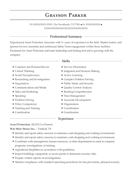 Asset Protection resume template Texas