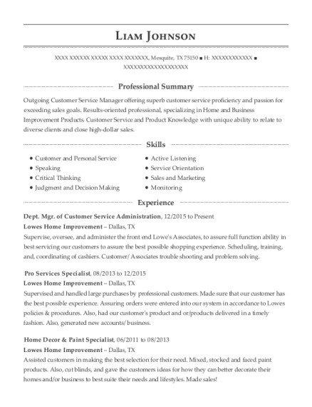 Dept Mgr of Customer Service Administration resume template Texas