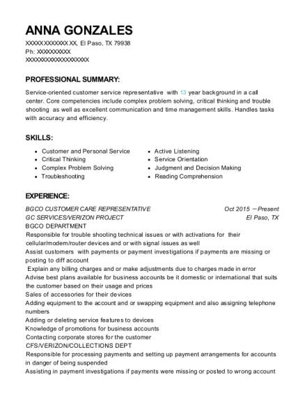 BGCO CUSTOMER CARE REPRESENTATIVE resume template Texas