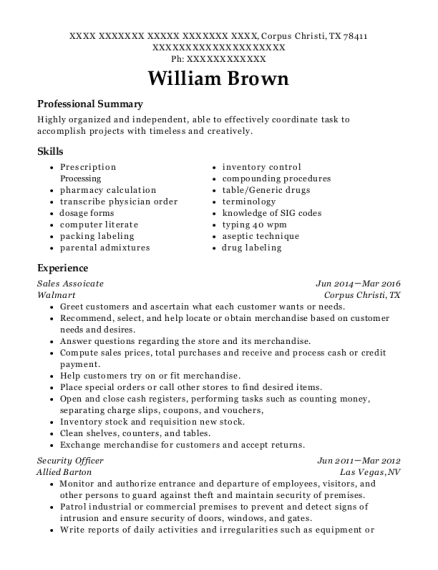 Sales Assoicate resume template Texas