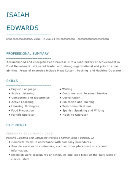 Packing resume template Texas
