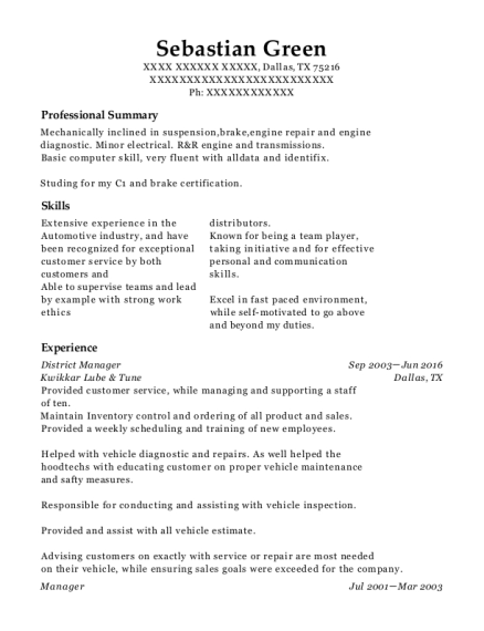 District Manager resume example Texas