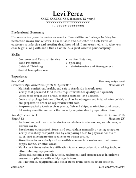Prep Cook resume format Texas