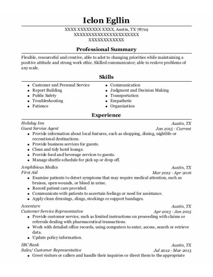 Guest Service Agent resume sample Texas
