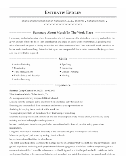 Summer Camp Counselor resume sample Texas