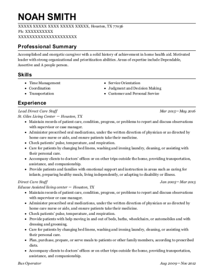 Lead Direct Care Staff resume format Texas