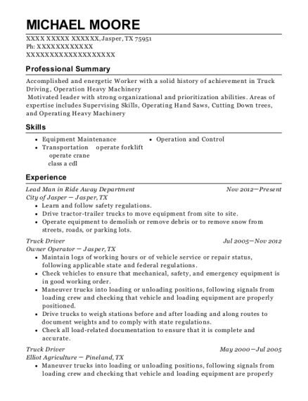 Lead Man in Ride Away Department resume template Texas