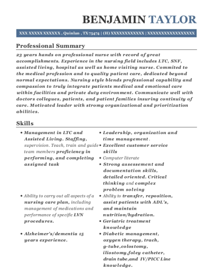 laura slate private duty charge nurse resume sample