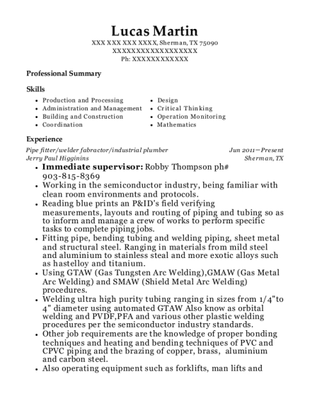 Pipe fitter resume format Texas
