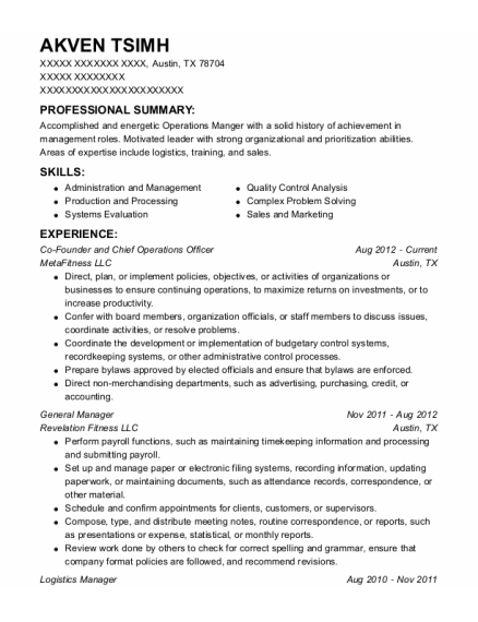 Co Founder and Chief Operations Officer resume example Texas