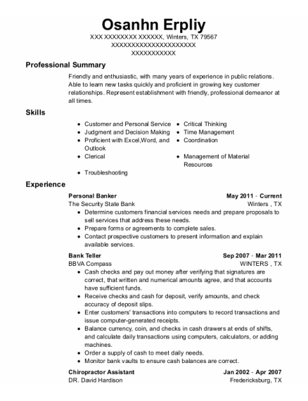 Personal Banker resume template Texas