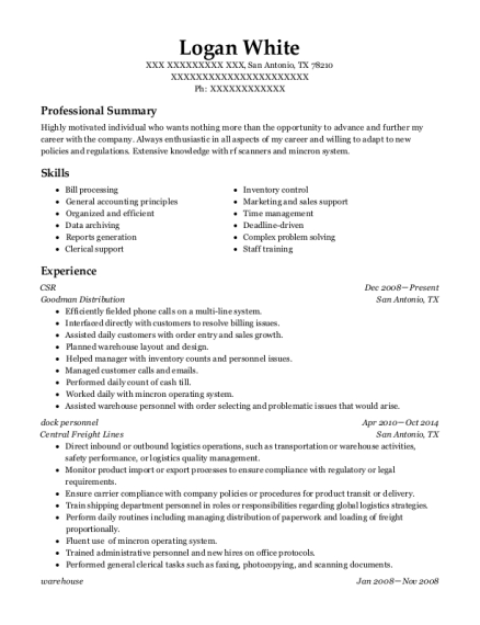 CSR resume example Texas