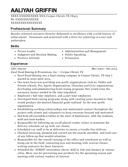 CEO resume format Texas