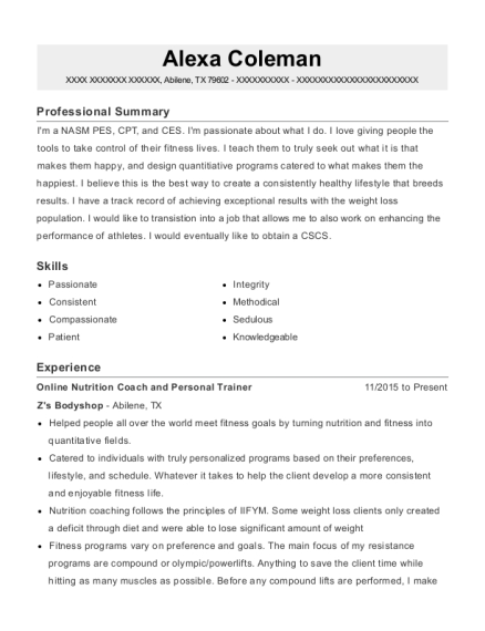 Online Nutrition Coach and Personal Trainer resume example Texas