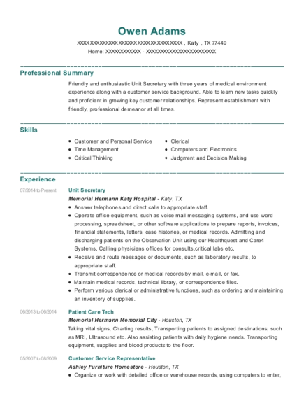 Unit Secretary resume example Texas