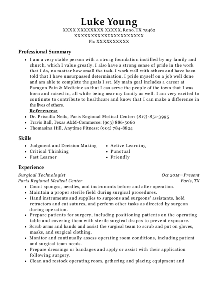 Surgical Technologist resume example Texas
