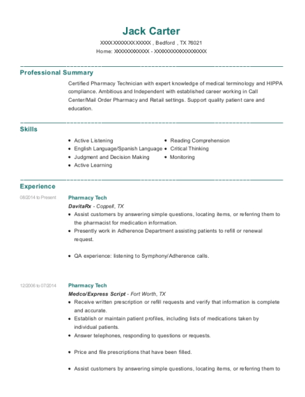 Pharmacy Tech resume format Texas