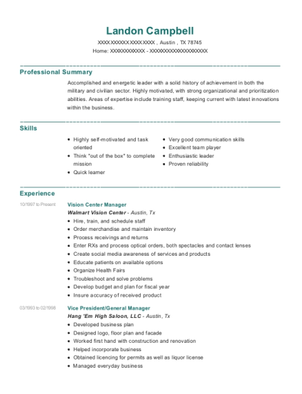 Vision Center Manager resume template Texas