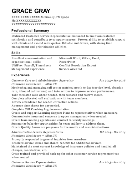 Customer Care and Administration Supervisor resume template Texas
