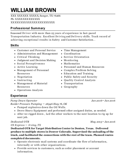 Pump Down Operator resume format Texas