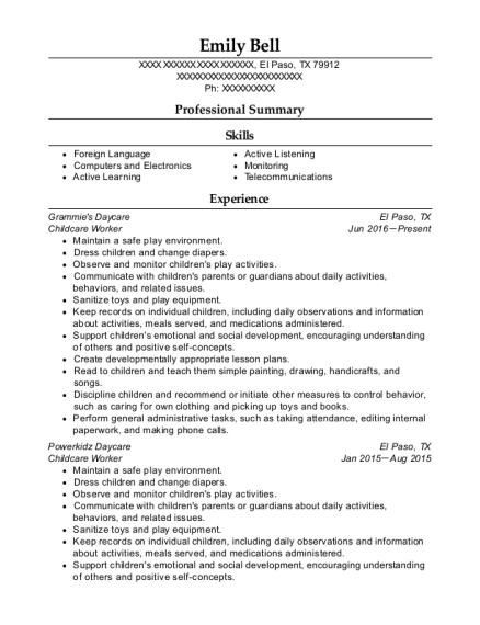 Childcare Worker resume format Texas