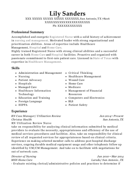 RN Case Manager resume sample Texas