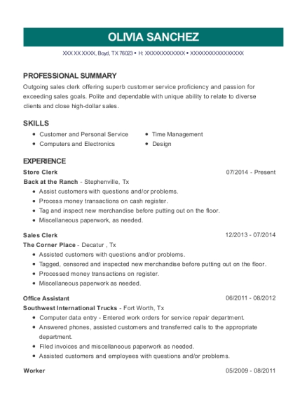 Store Clerk resume sample Texas