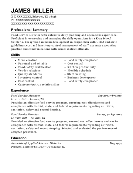 Food Service Manager resume example Texas