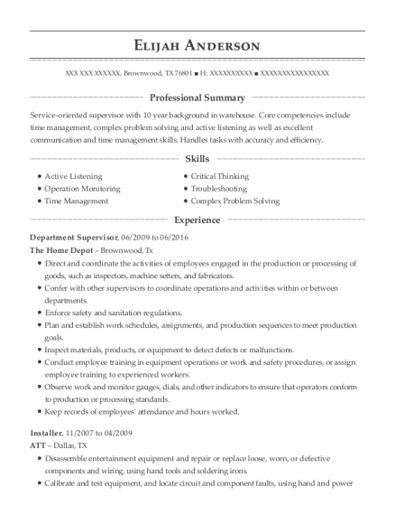 Department Supervisor resume example Texas