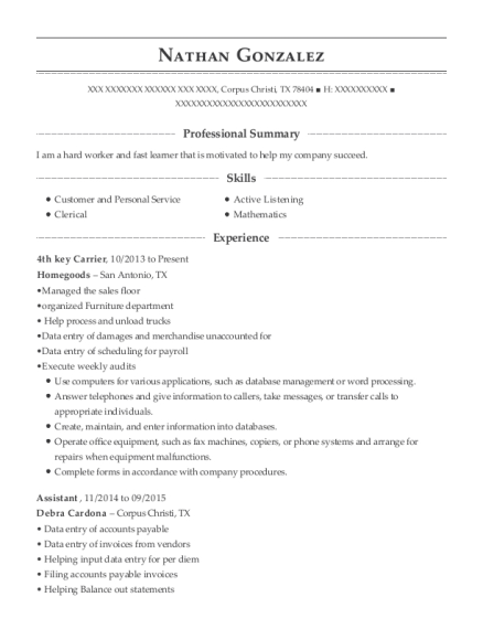 4th key Carrier resume template Texas